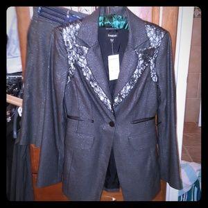 Bebe Grey Lace Italian Skirt Jacket Suit Set